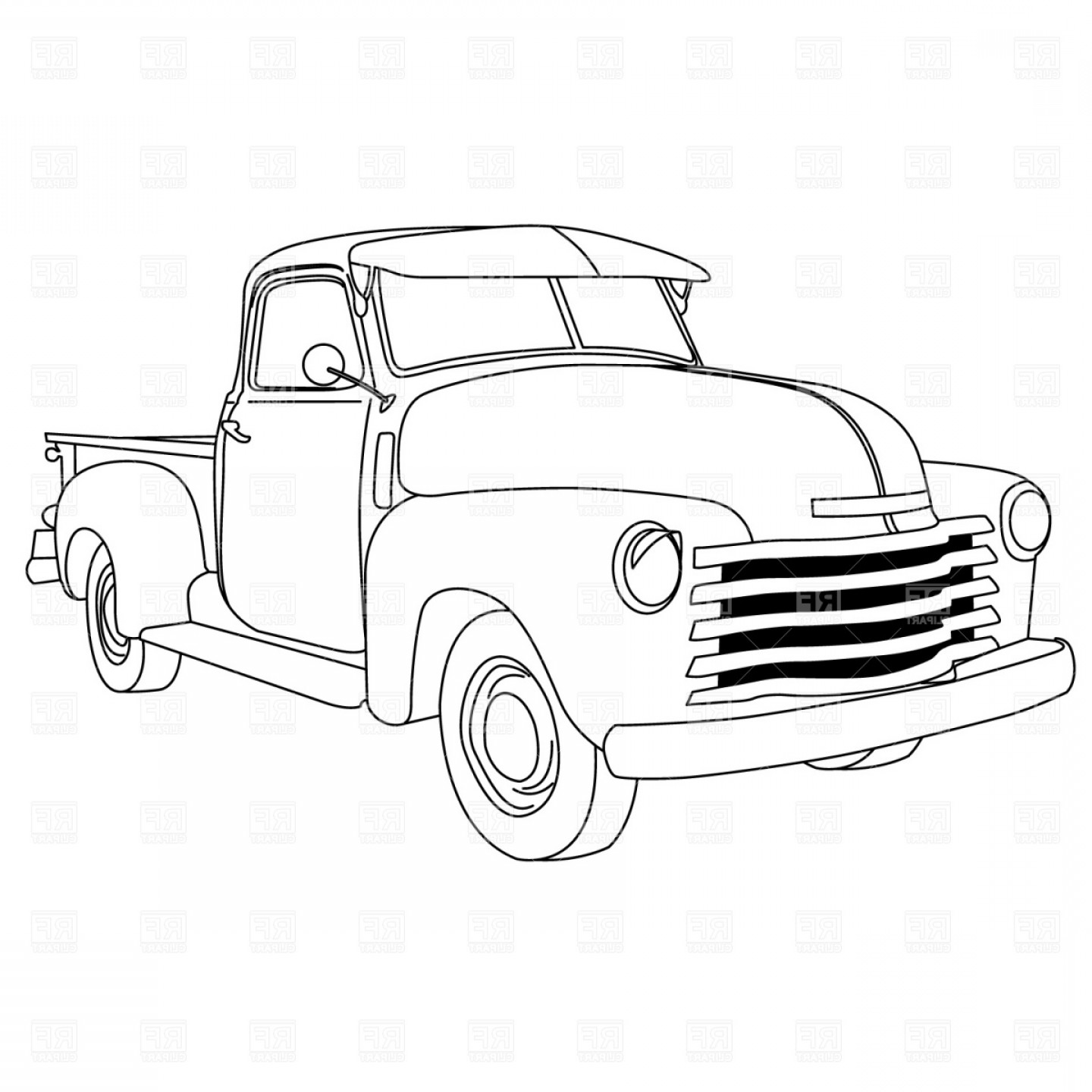 Old American Pick Up Truck Vector Clipart.