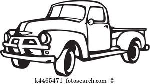 Image result for pick up truck clip art in black and white.
