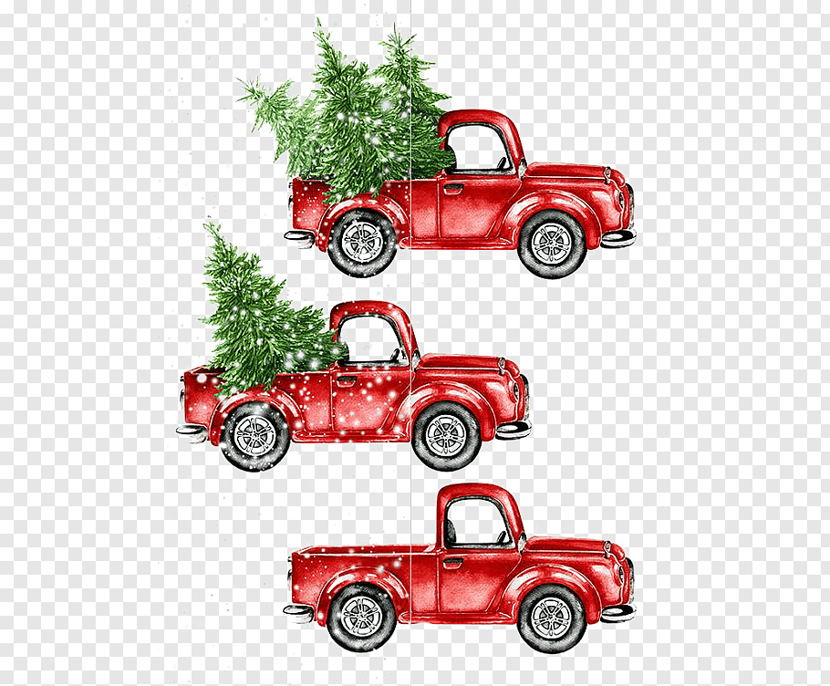 Three red pickup truck christmas design illustration, Car.