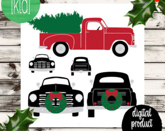 Free Old Truck With Christmas Tree Silhouette, Download Free.