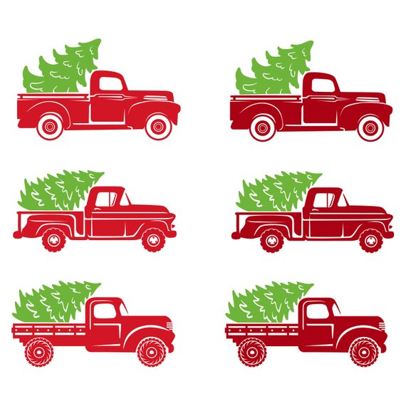 Christmas Red Truck Xmas Tree Old Vintage Retro Silhouette.