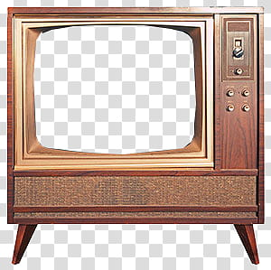 Old TV s, vintage brown cathode ray tube television frame.