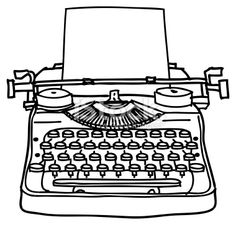 beautiful pen and ink rendering of an old typewriter . pre.