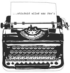 Vintage typewriter clipart.