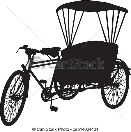Vector Clipart of three wheel bicycle taxi silhouet.