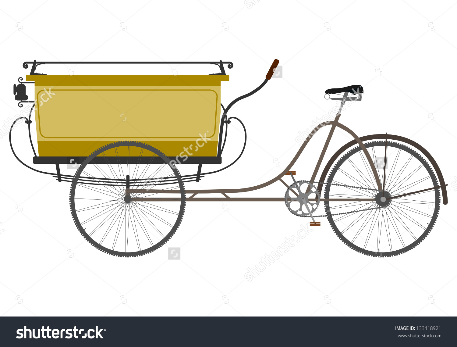 Silhouette Of An Old Utility Tricycle On A White Background. Stock.