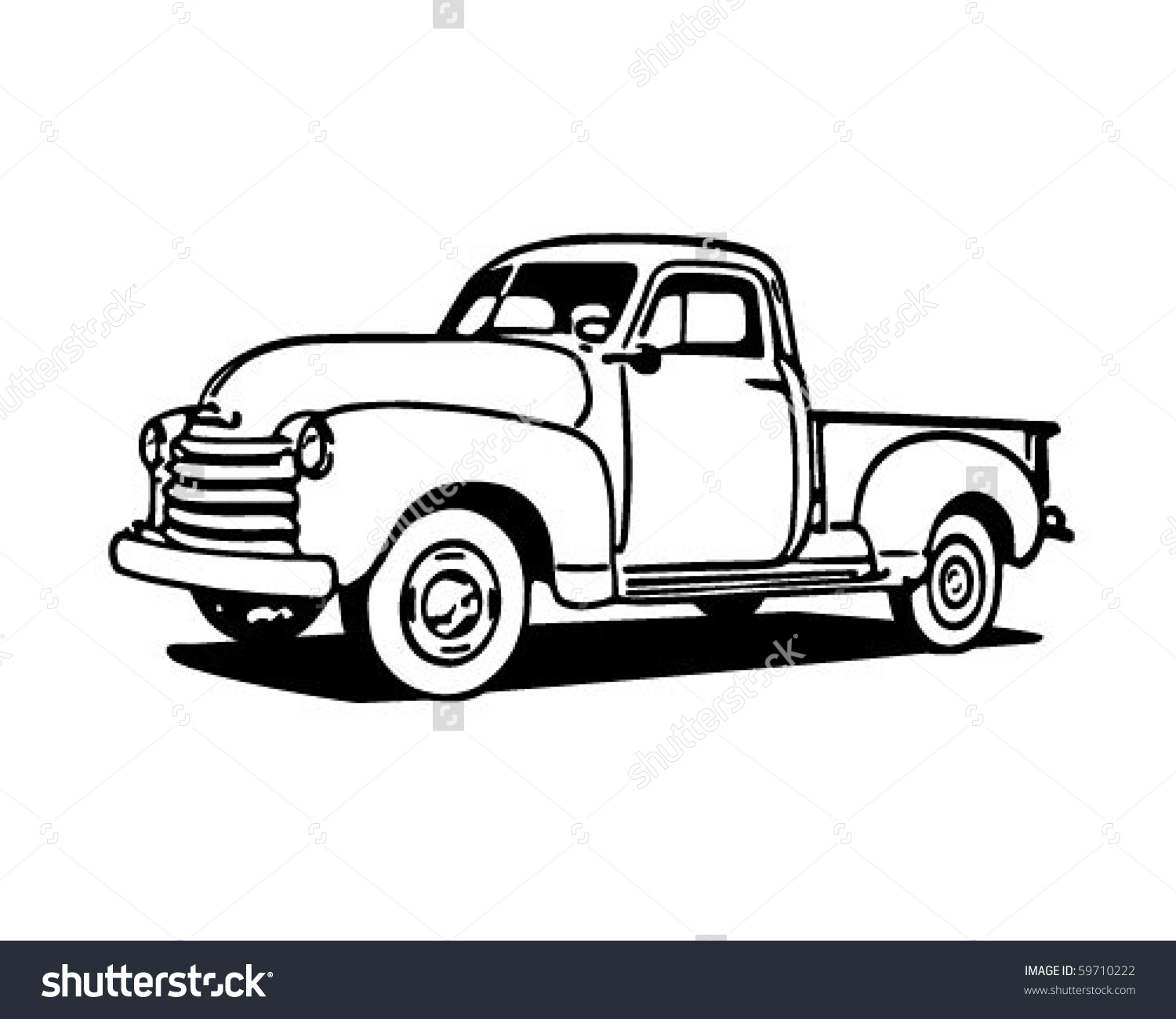 Pickup Truck Retro Clip Art Stock Vector 59710222.