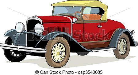 Clipart Vector of isolated old car.
