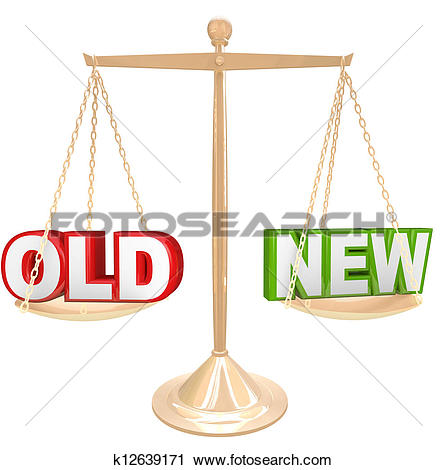 Clipart of Old Vs New Words on Balance Scale Weighing Comparison.