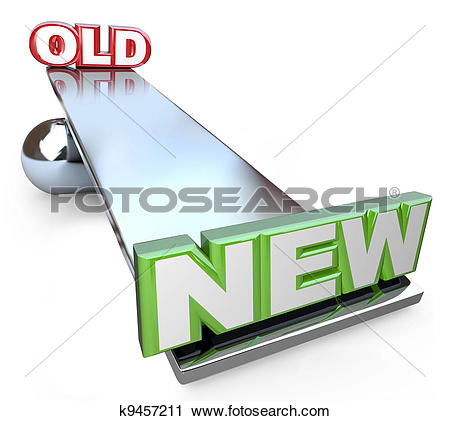 Clipart of Old Versus New Balance on See.
