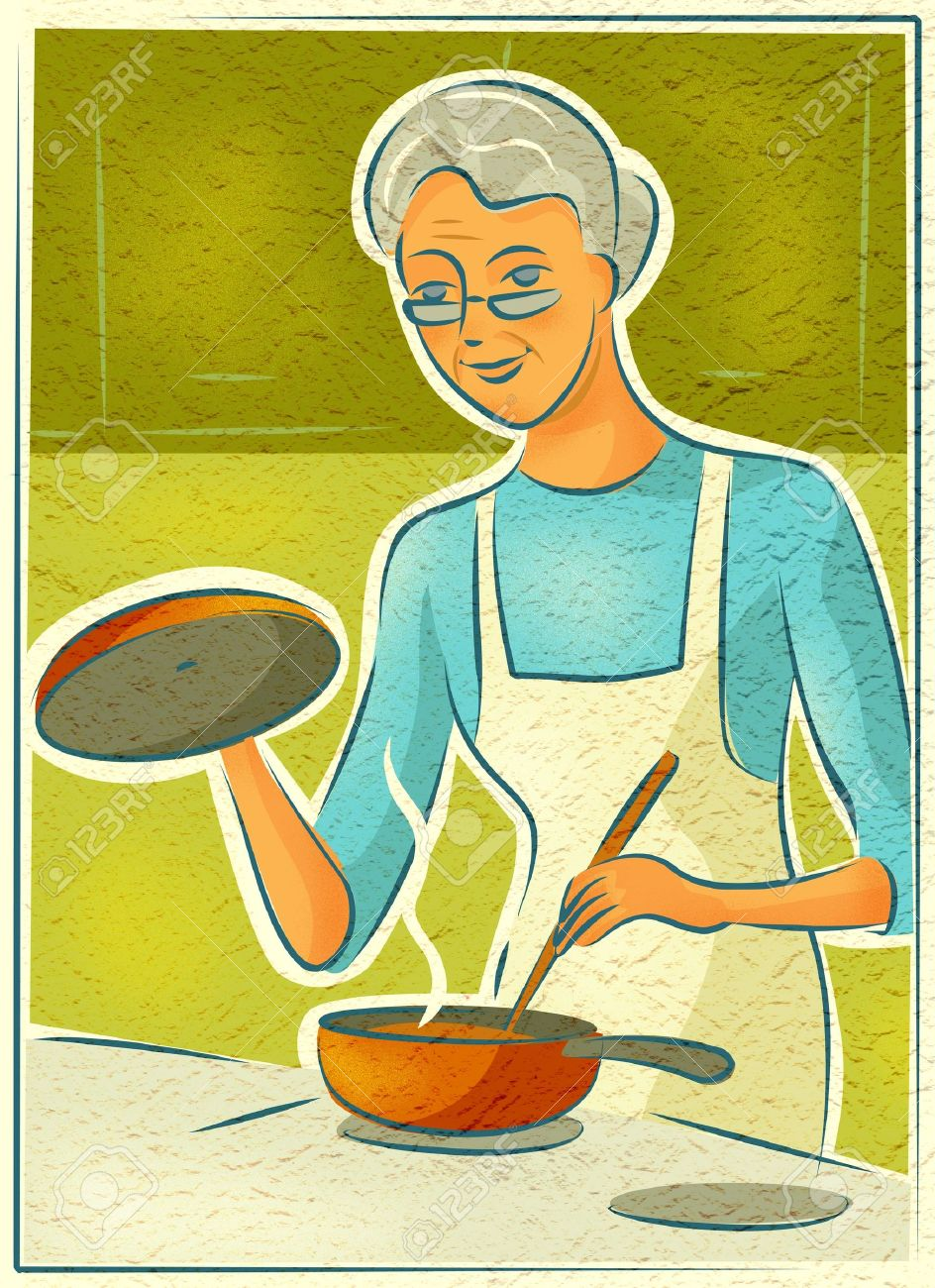 Showing post & media for Old woman cooking cartoon.