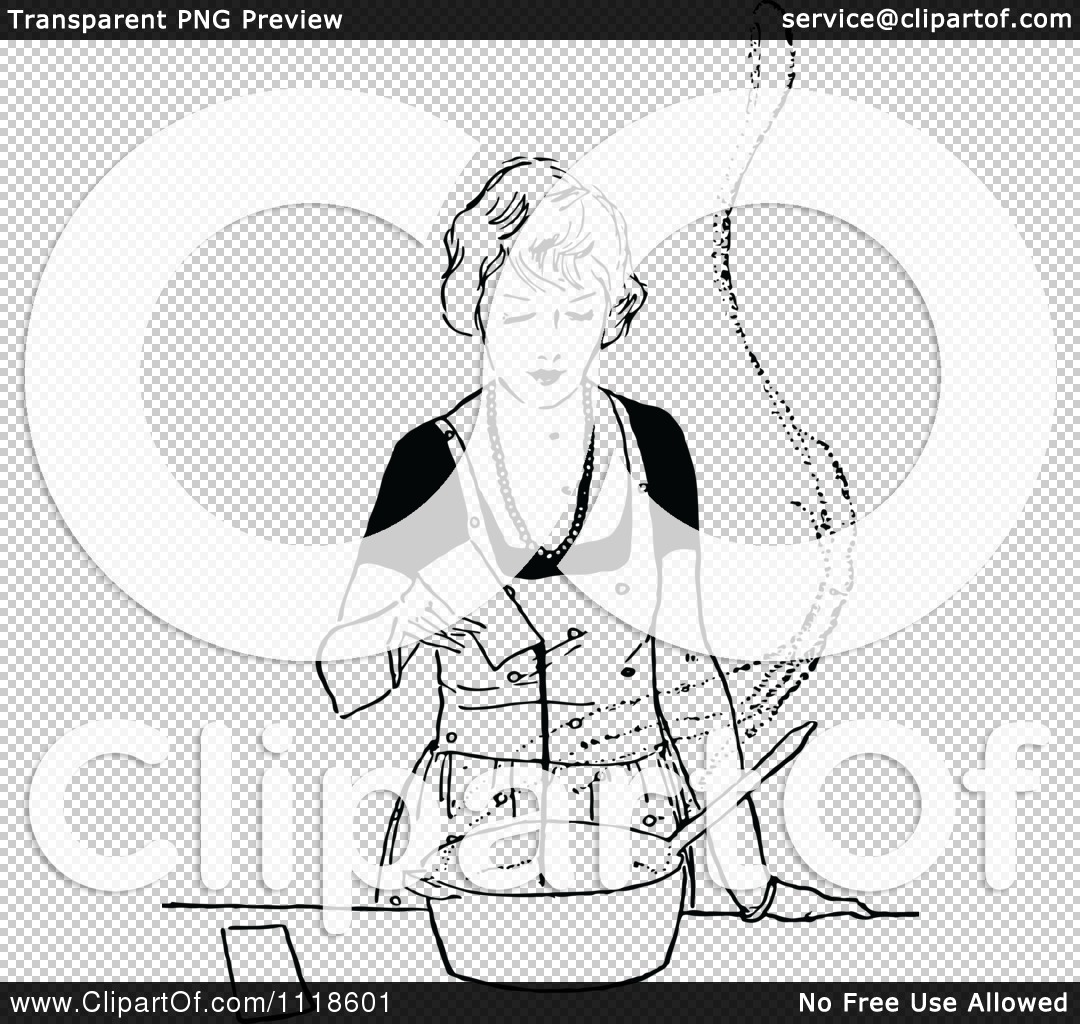 Clipart Of A Retro Vintage Black And White Woman Cooking.
