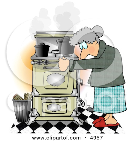 Old Woman Cook Cartoon Clipart.