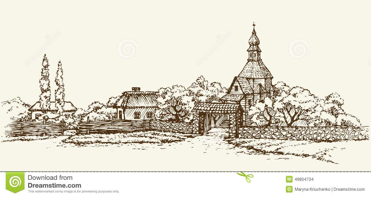 Old Ukrainian Village. Vector Sketch Stock Vector.