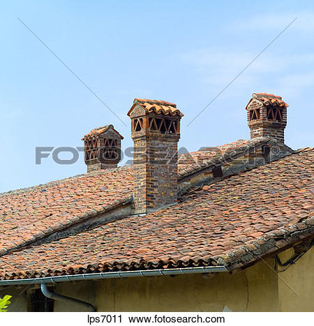 Stock Photography of saracen chimneys and roofs cuisiat village.
