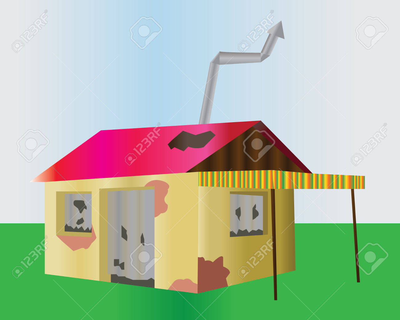 Ruined One Floor House. Damaged Building Illustration. Old Home.