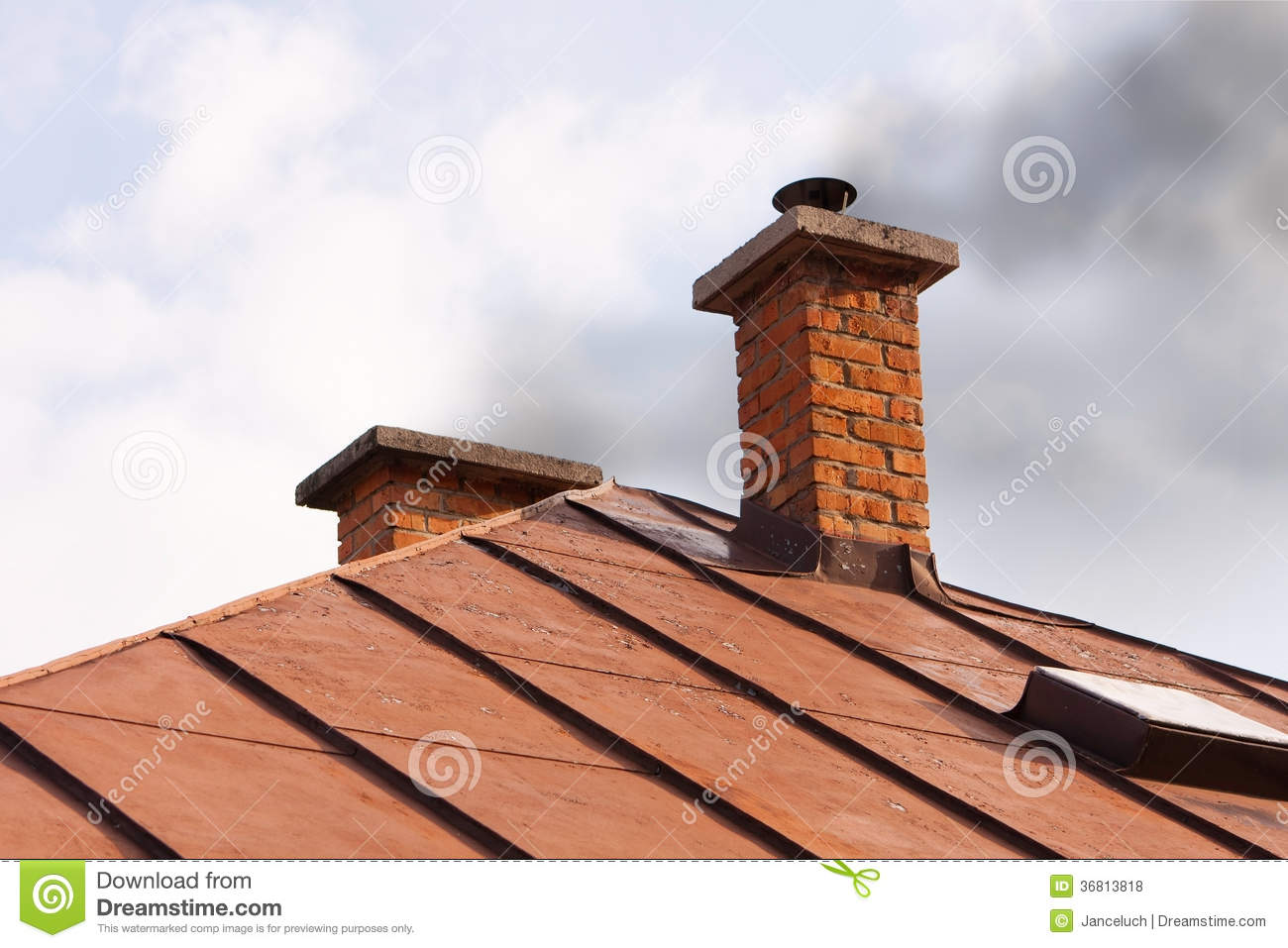 Brick Chimney Of Old House With Solid Fuel Stove Royalty Free.