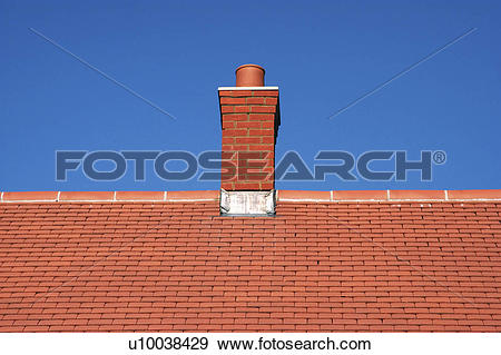 Stock Photograph of Roof top and chimney on a new house u10038429.