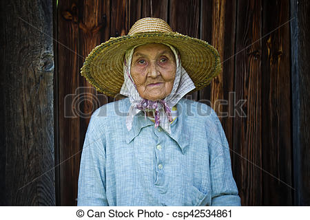 Stock Image of very old woman from the village.