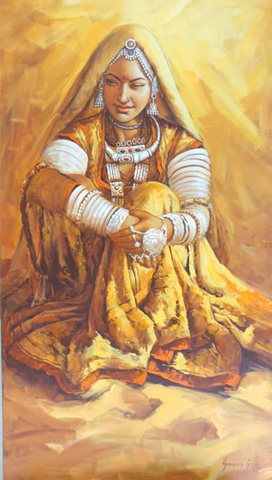 Rajasthani Woman by Sanjay Soni. Beautiful painting or rangoli.