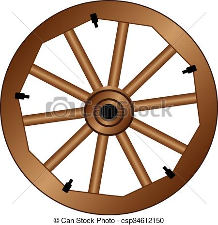 Clipart Vector of Wooden wheel for an old wagon. Vintage wooden.