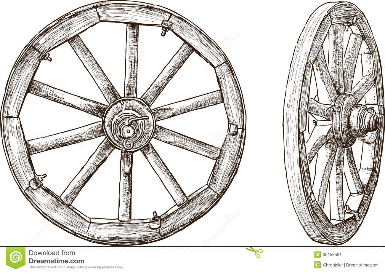 old wagon wheel clipart