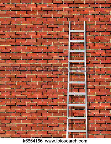 Clip Art of Old wall and ladder k6564156.