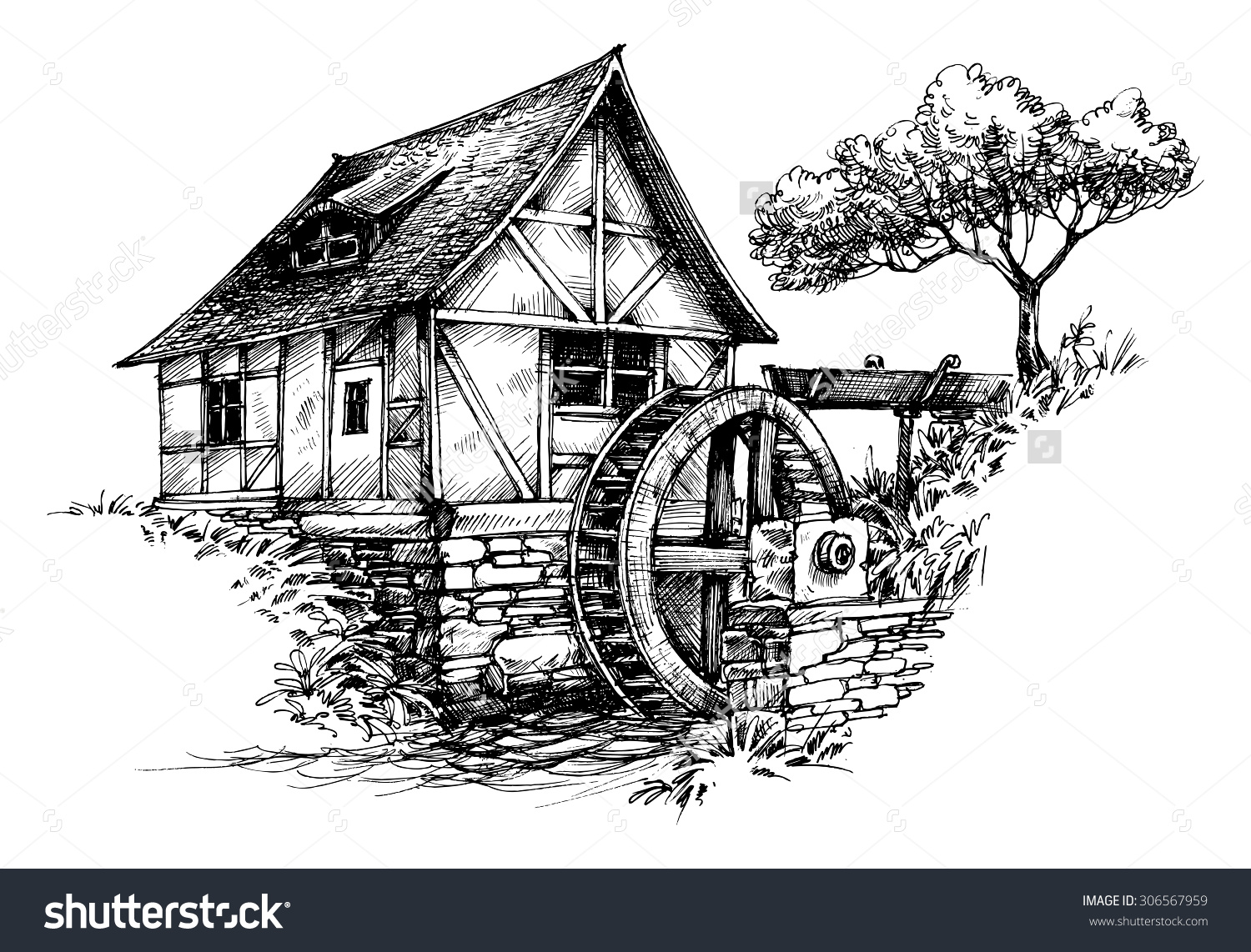Old Water Mill Sketch Stock Vector 306567959.