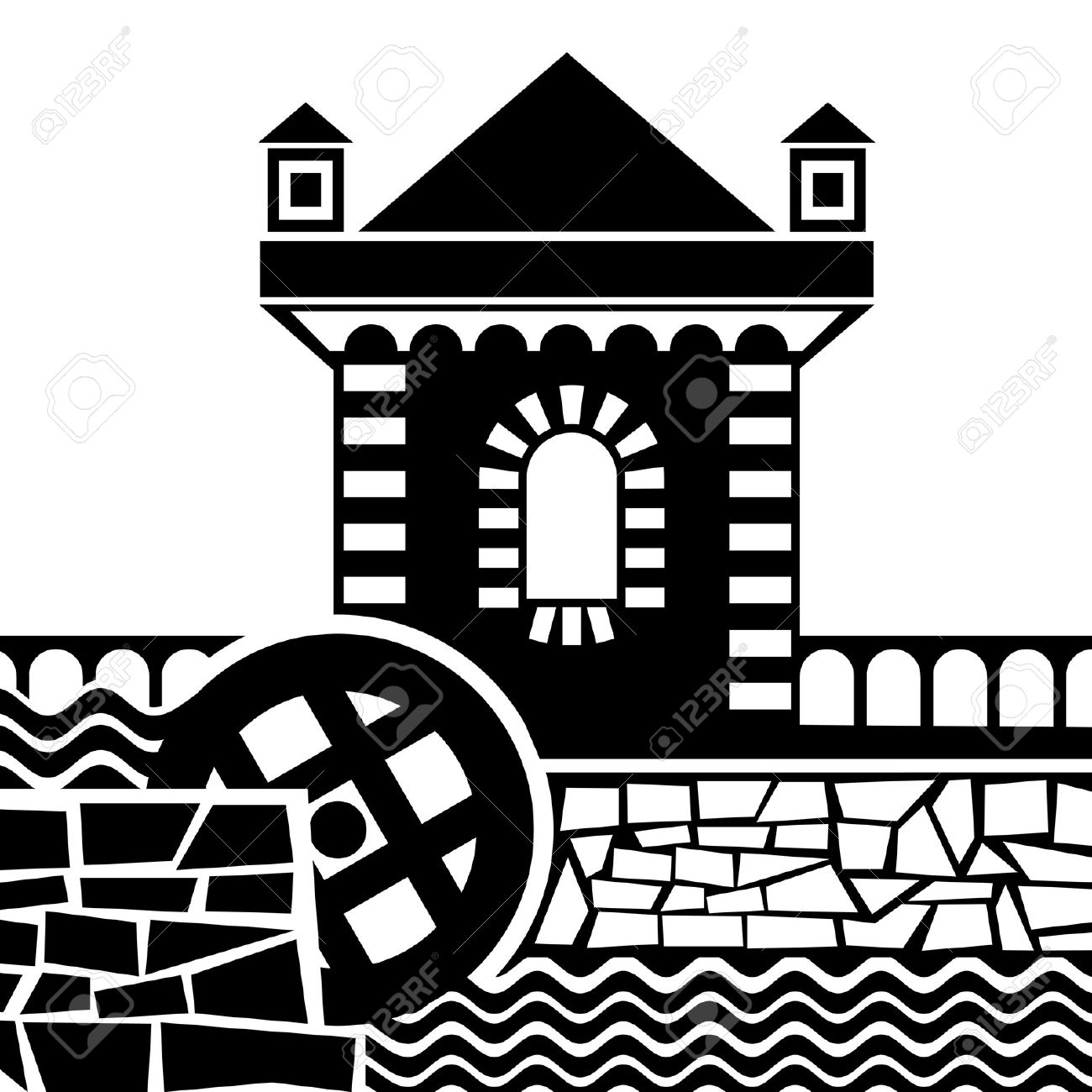 Vector Images Of Old Water Mill Royalty Free Cliparts, Vectors.