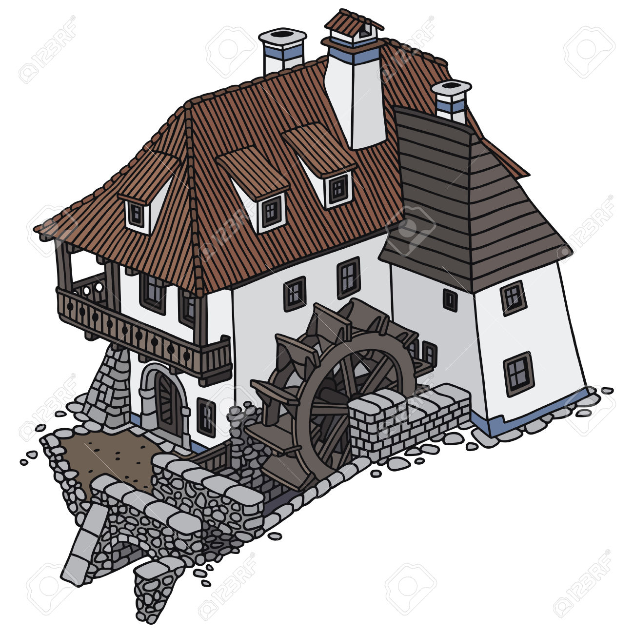 Hand Drawing Of An Old Water Mill Royalty Free Cliparts, Vectors.