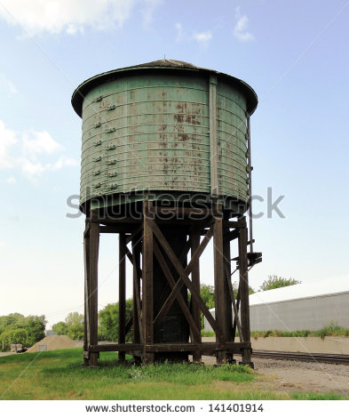 Old wood water tower clipart.