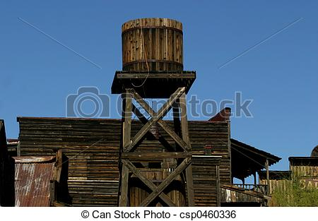 Stock Image of Old West Water Tower.