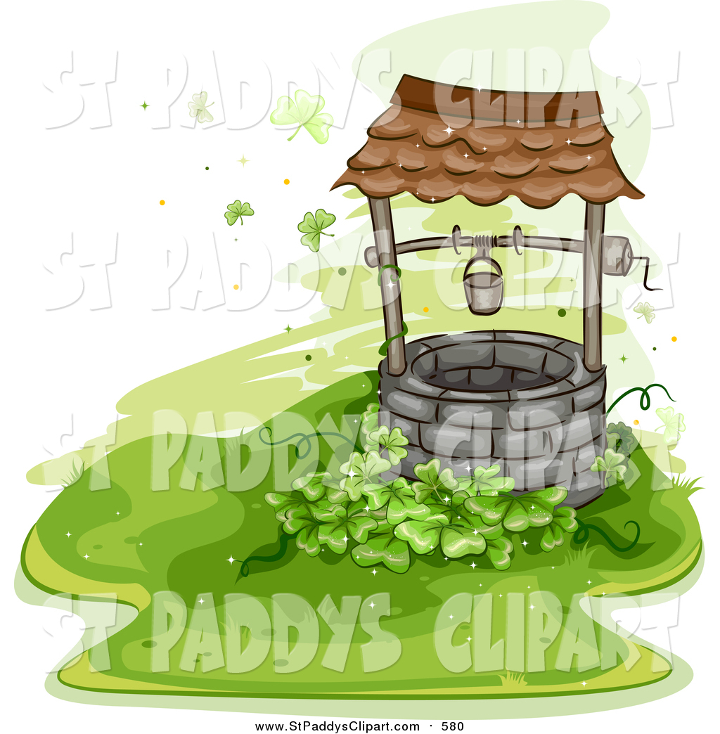 Vector Clip Art of a Clover Patch and an Old Well by BNP Design.