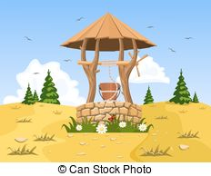 Clip Art Vector of landscape with old wooden well and bucket of.