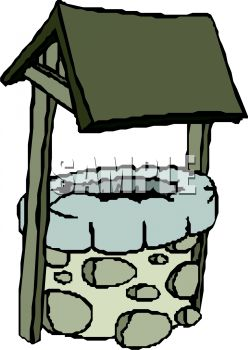 Royalty Free Clipart Image: Old Fashioned Covered Stone Well.