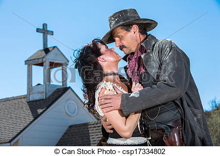 Stock Photography of Romantic Old West Man and Woman Embrace.