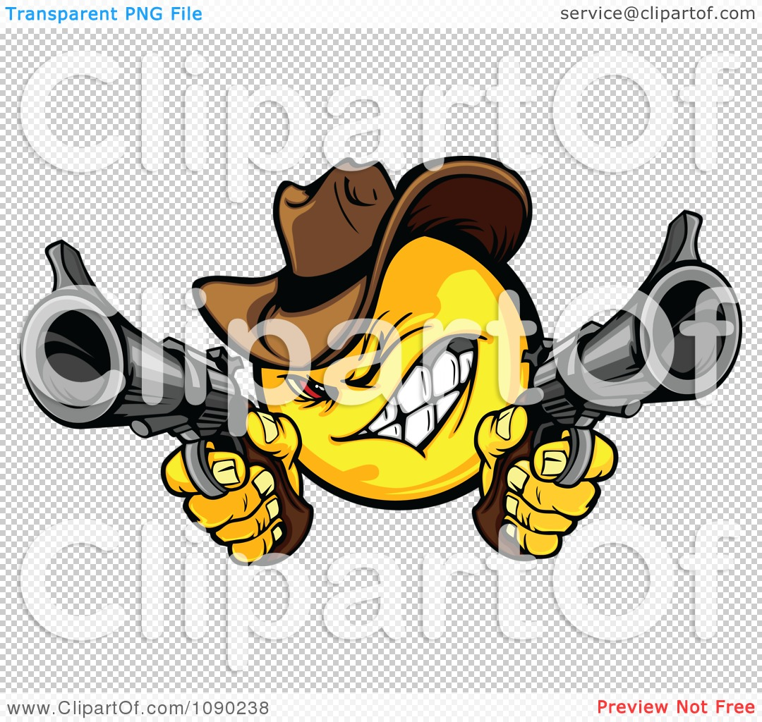 Clipart Wild West Cowboy Emoticon Bandit Shooting Pistols.