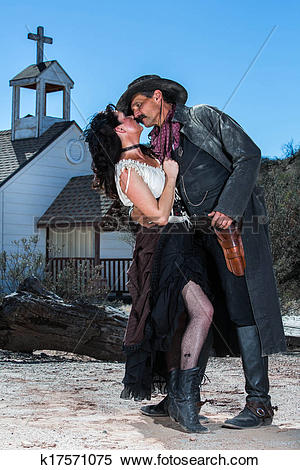 Stock Image of Romantic Old West Man and Woman k17571075.