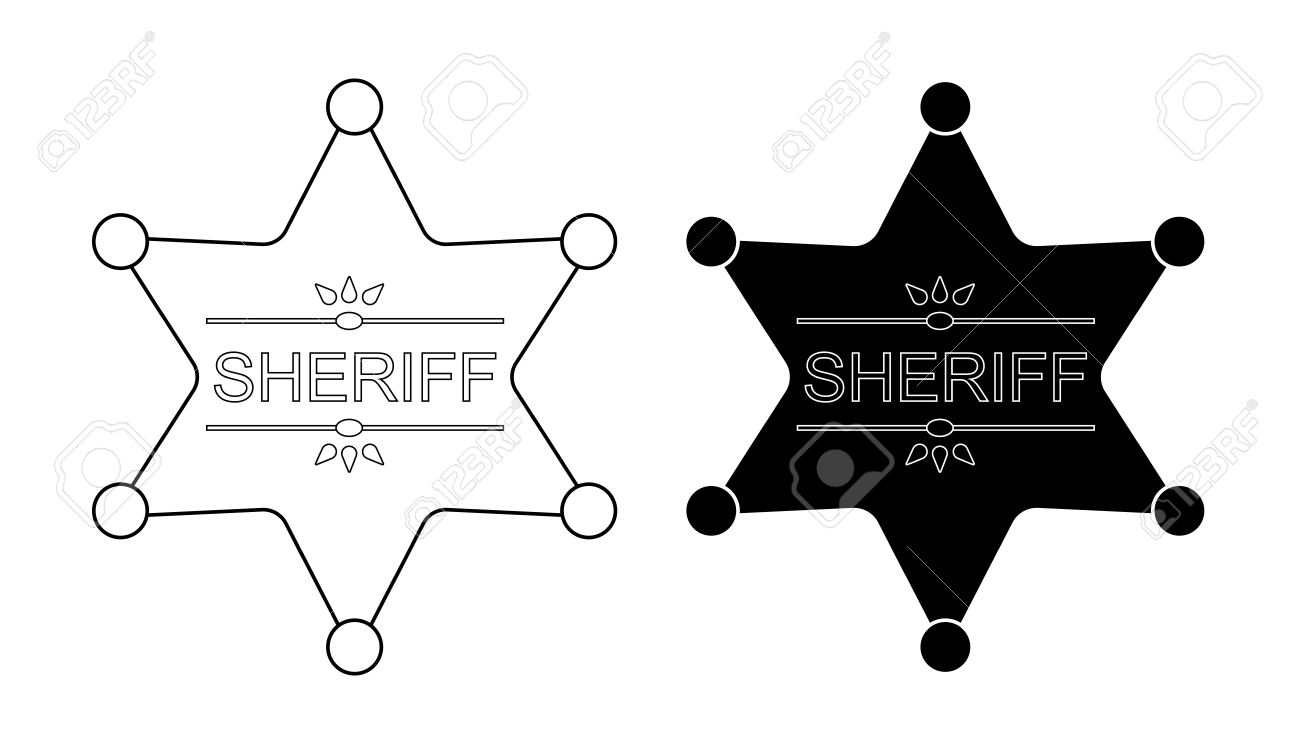 Wild West Sheriff Star Badge Icon. Vector Contour Lines Clip.