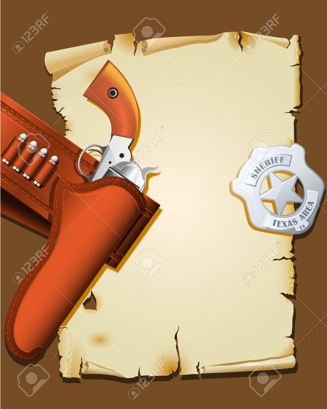 Wild West Poster With Handgun And Sheriff Badge Royalty Free.