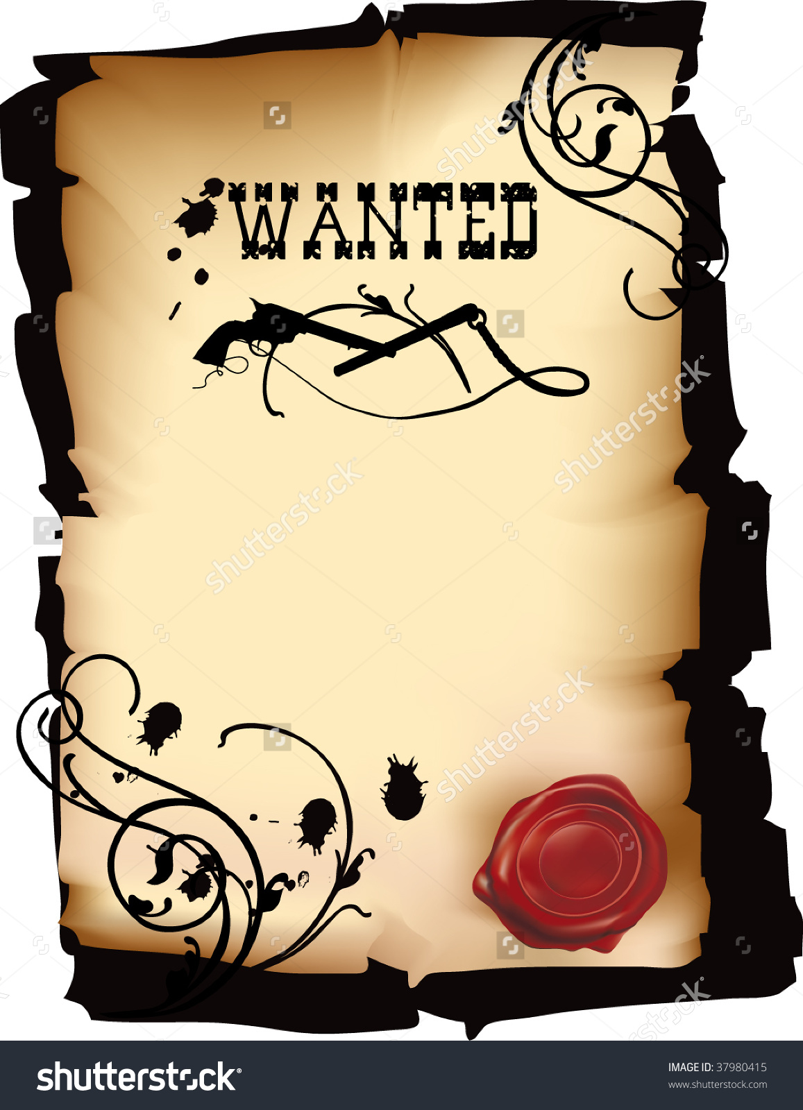 Wild West Wanted Poster Vector Format Stock Vector 37980415.