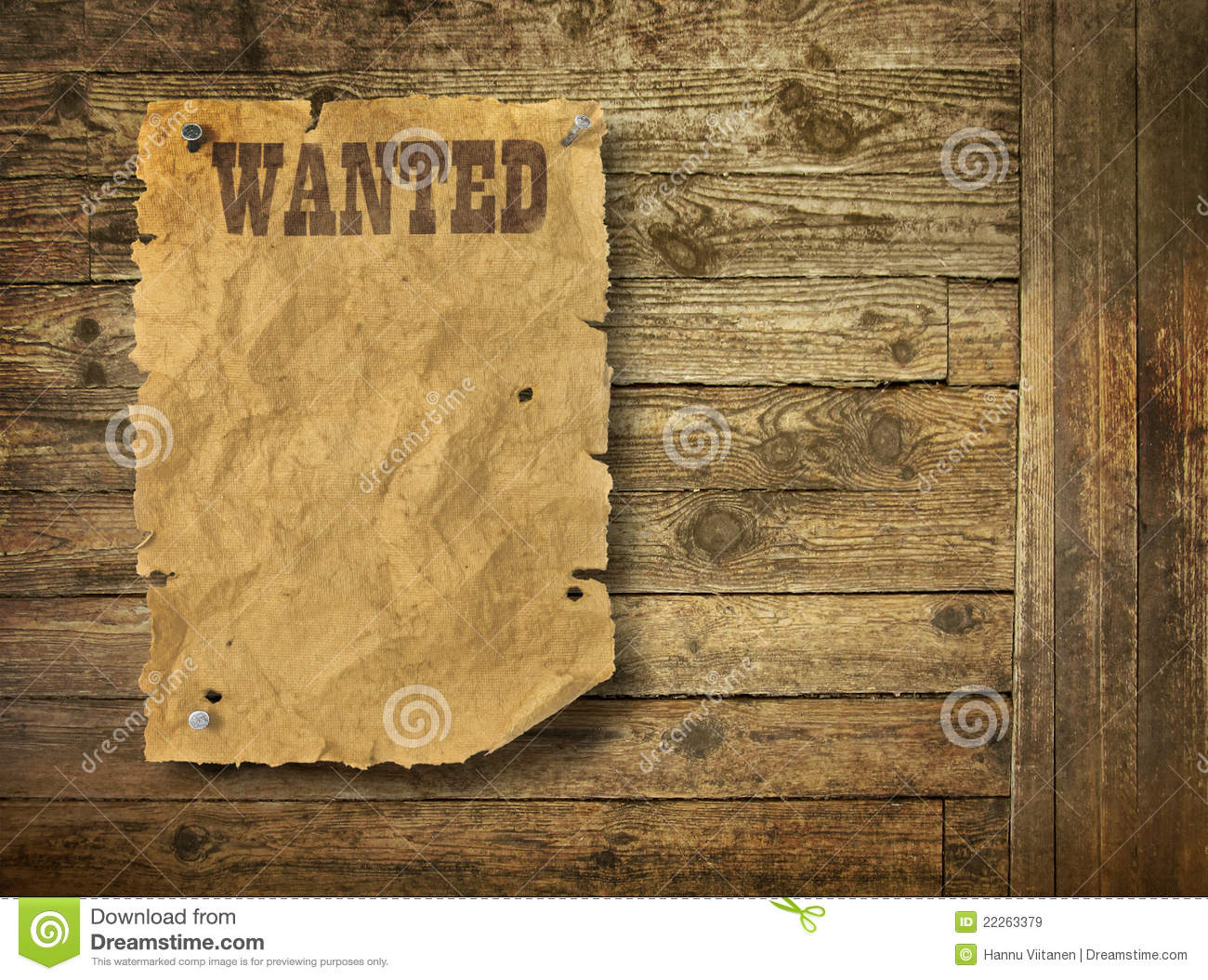 Torn Wild West Wanted Poster Royalty Free Stock Images.
