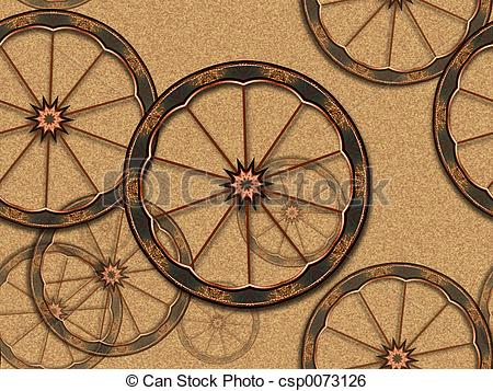 Stock Illustration of Old bike wheels.