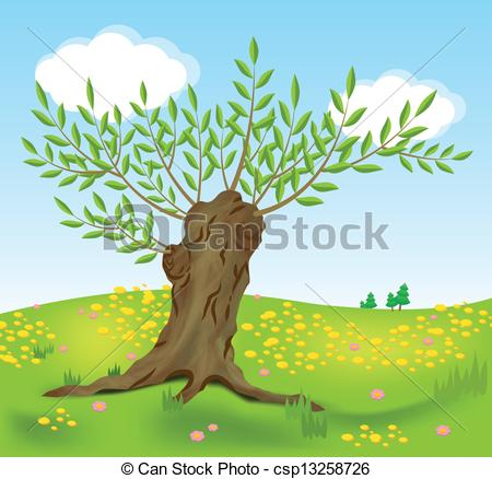 Vector Illustration of Old willow on spring meadow csp13258726.