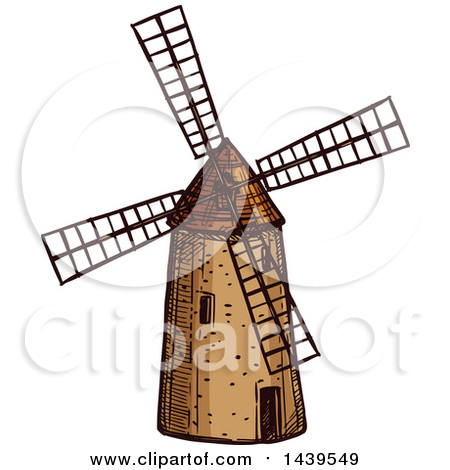 Clipart of a Black and White Windmill 2.