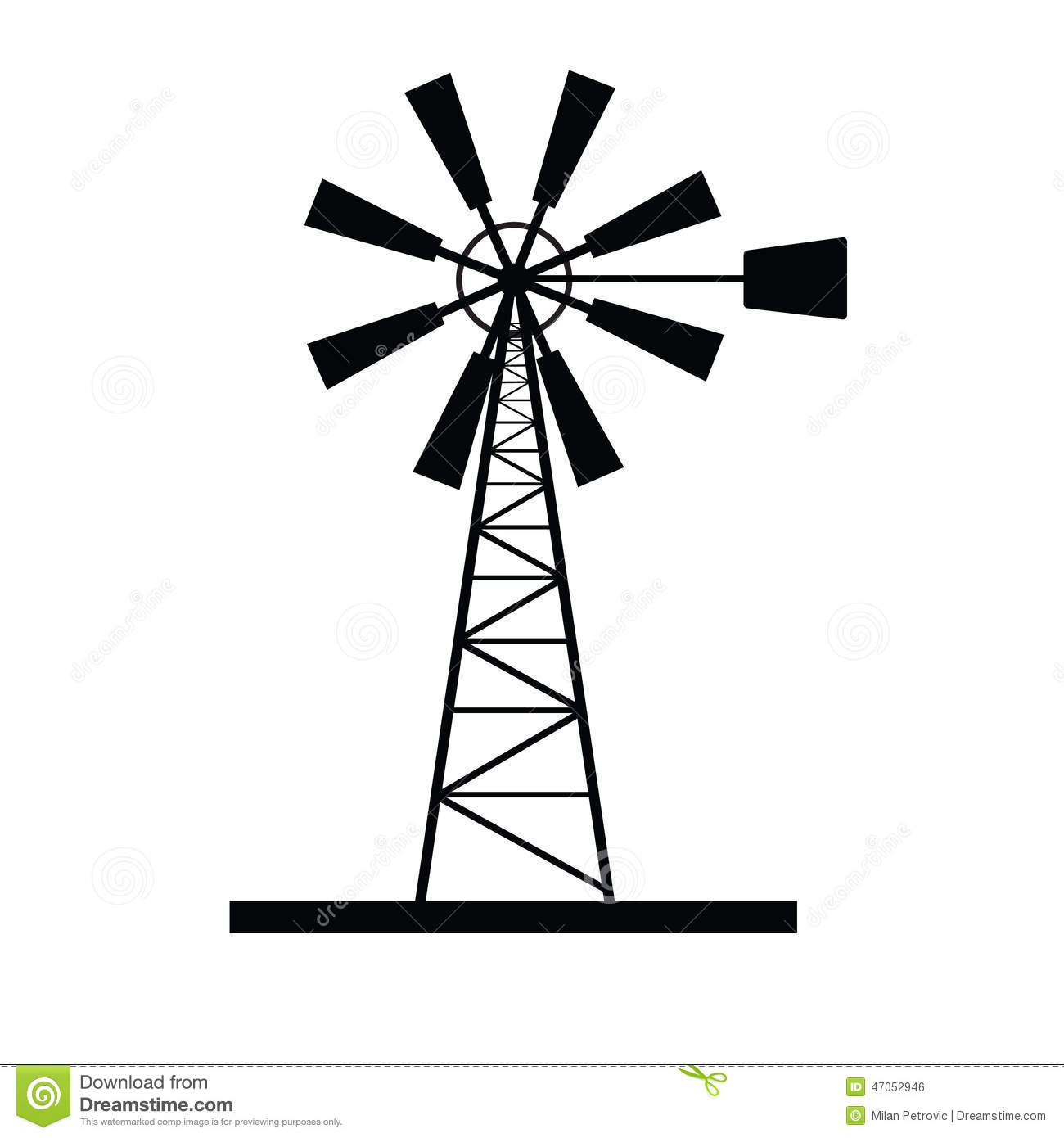 Old Windmill. Doodle Style Stock Image.