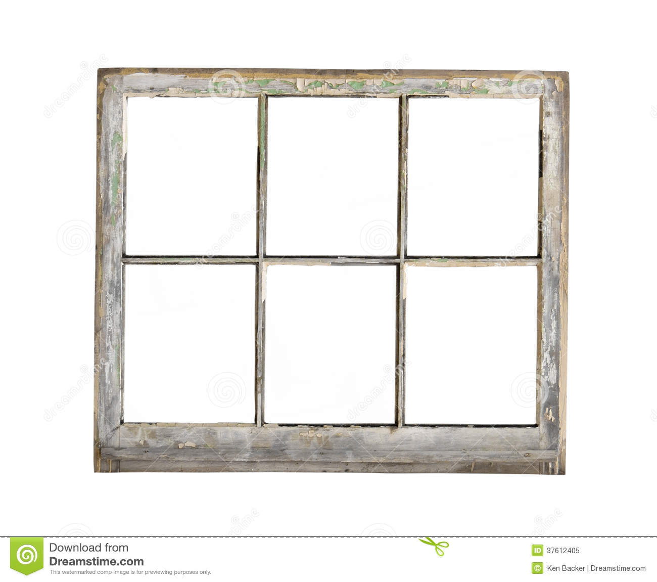 Old Wood Frame Window Isolated. Royalty Free Stock Photo.