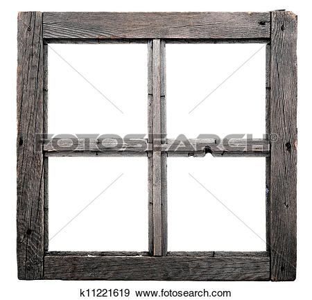 Stock Photograph of Old window frame isolated on white background.