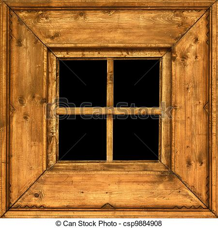 Pictures of Old wooden rural window frame.