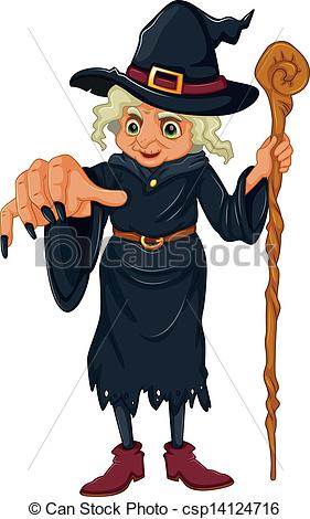 Vector Clip Art of A witch holding a wooden stick.